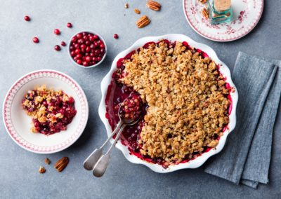 Apple and Berry Spiced Compote with Crispy Almond Topping